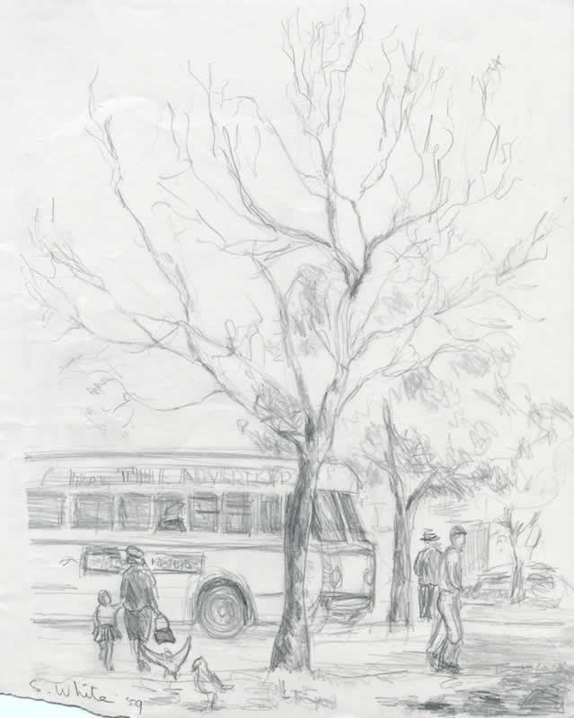Adelaide street with figures and bus by Susan Dorothea White