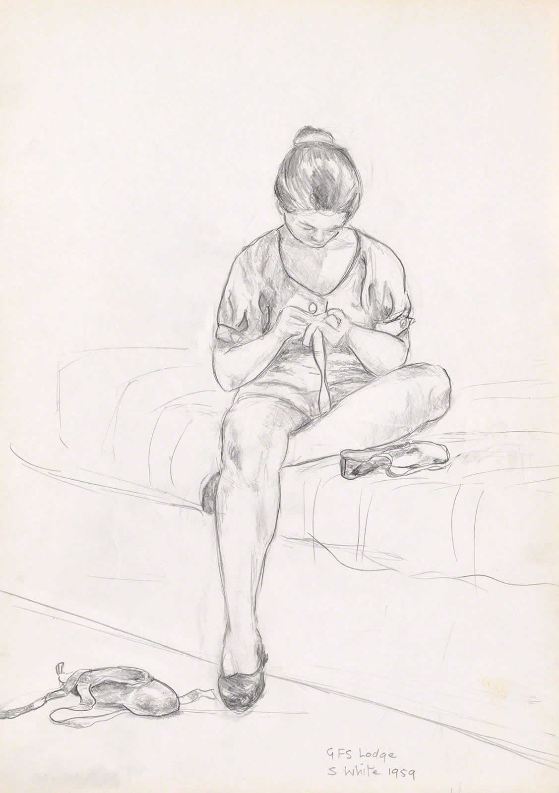Ballet dancer sewing, Girls Friendly Society Lodge, Adelaide by Susan Dorothea White
