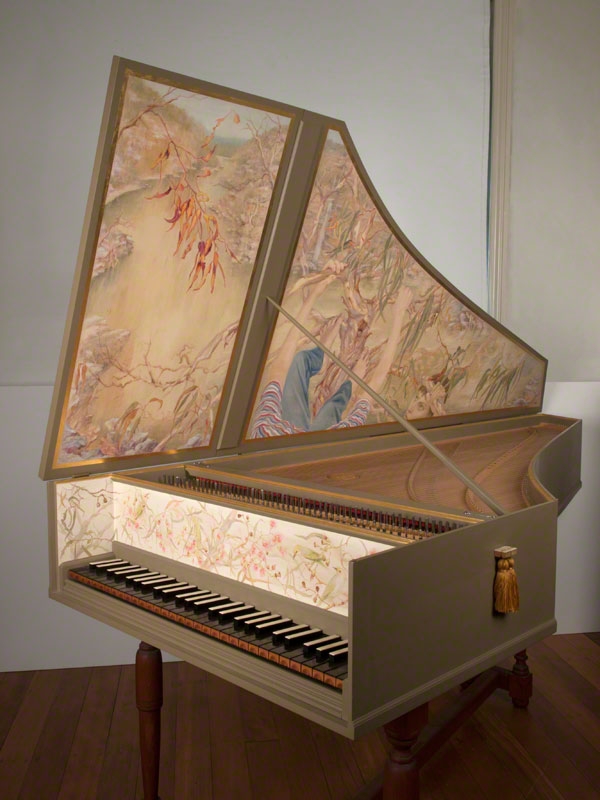 Blowflies (rose in harpsichord sound-hole) by � Susan D White