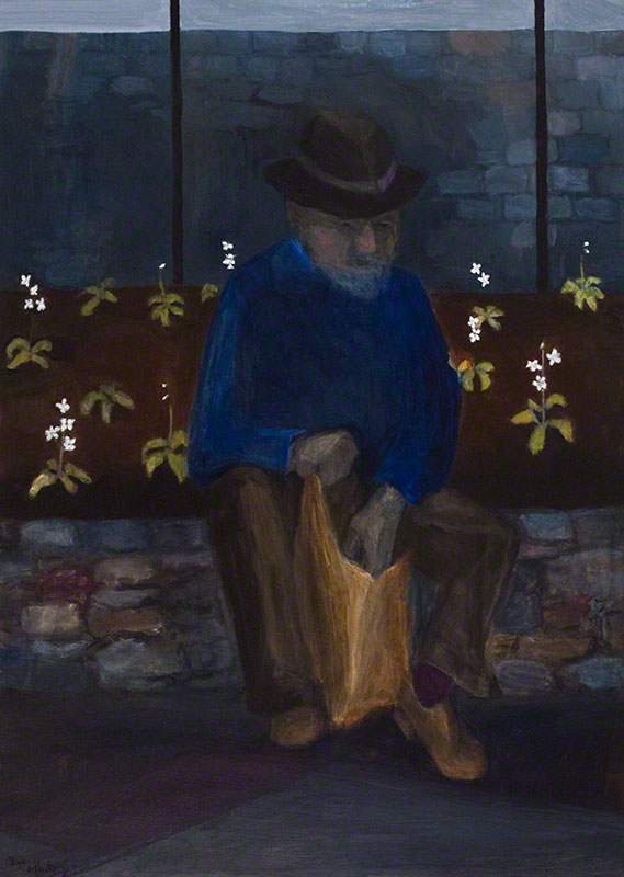 Homeless Man in Primula Bed by Susan Dorothea White