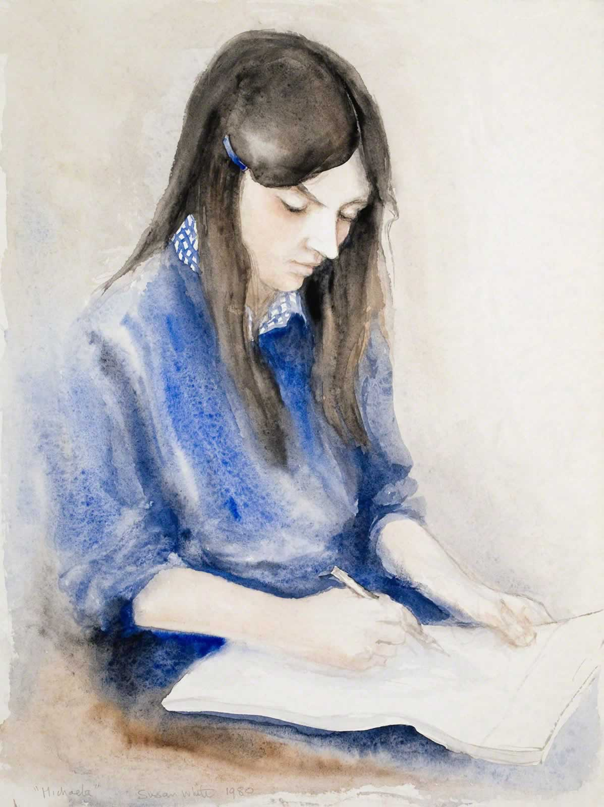 Michaela in ultramarine blue, drawing by Susan Dorothea White