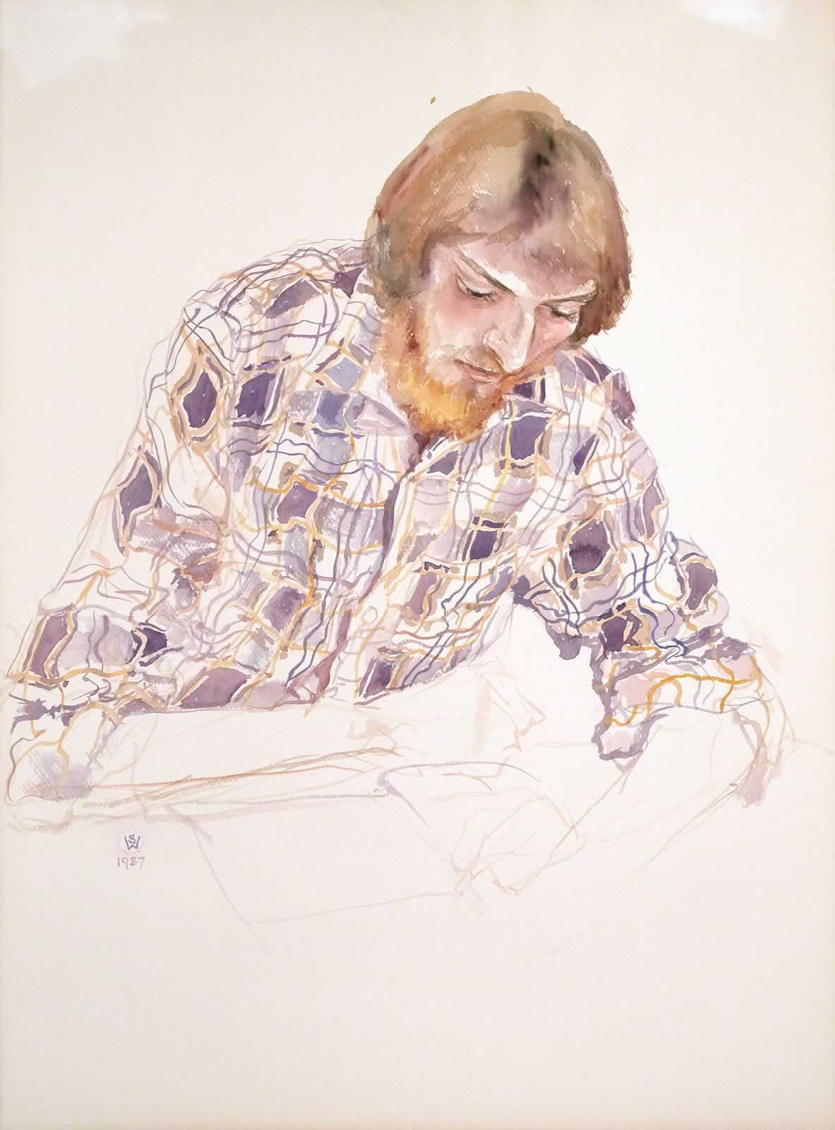 Paul in check shirt, reading by Susan Dorothea White