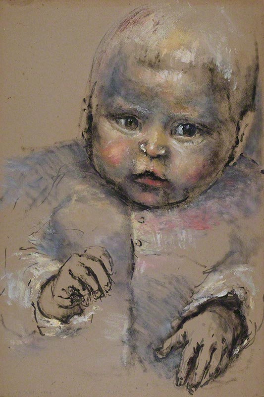 Portrait of baby Paul with hands by Susan Dorothea White