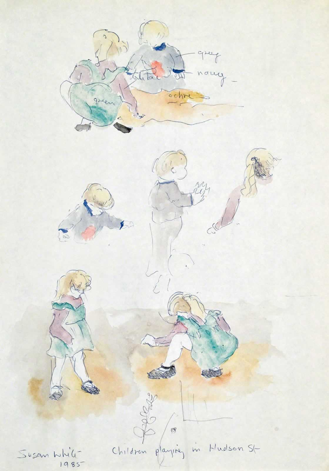 Sketch: Children Playing in Clay, Hudson St, Annandale by Susan Dorothea White