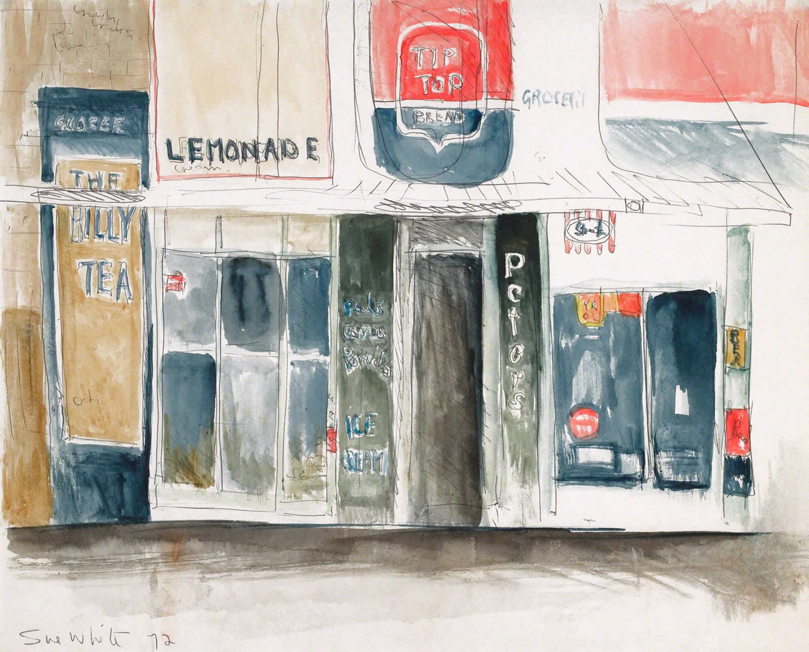 Sketch: Corner Shop Annandale, Piper & View Sts - 'Billy Tea' by Susan Dorothea White