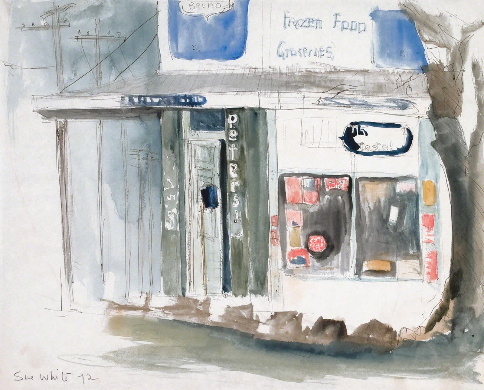 Sketch: Corner shop Annandale, Piper & View Sts - 'Groceries' by Susan Dorothea White