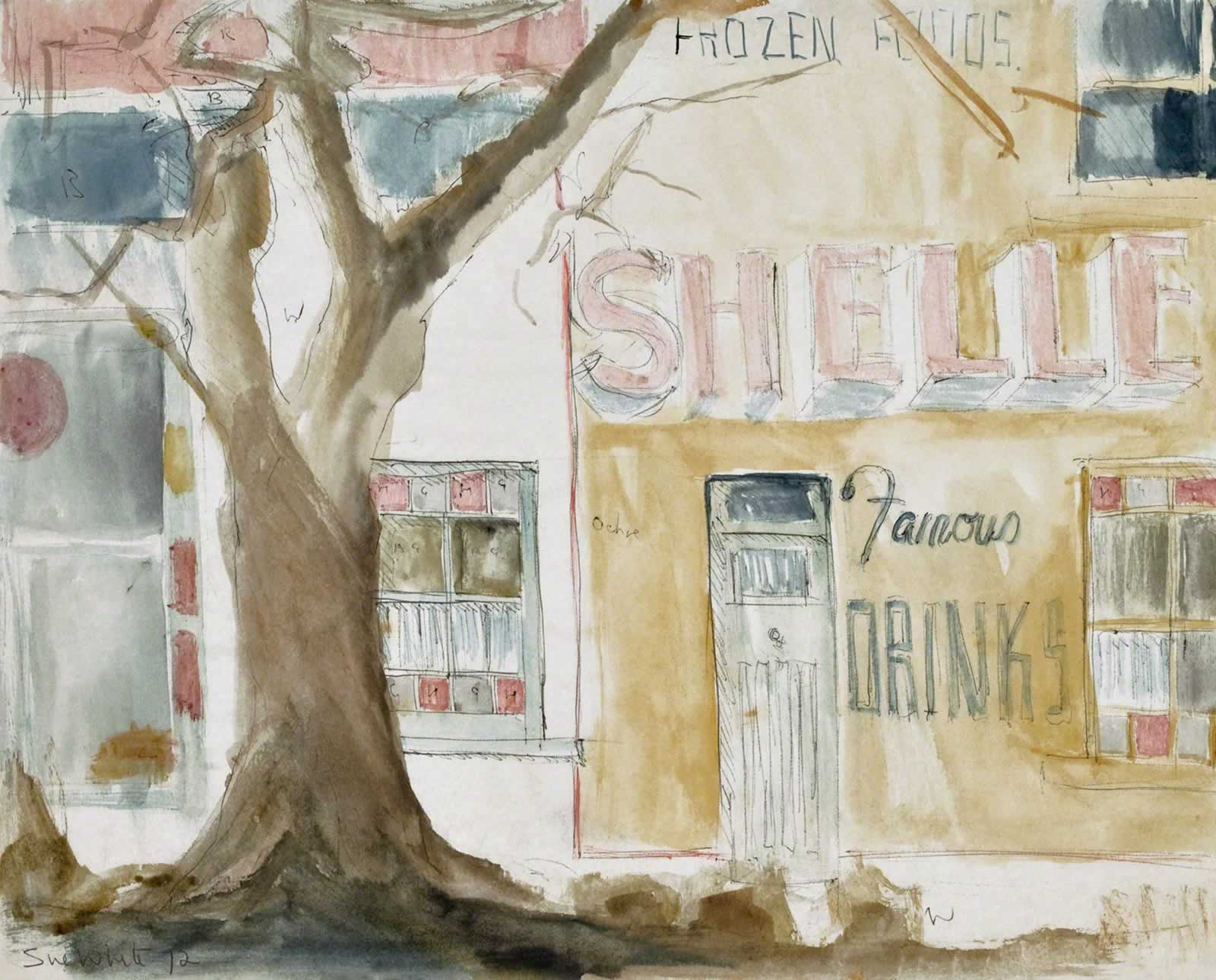 Sketch: Corner shop Annandale, Piper & View Sts - 'Shelley's Famous Drinks' by Susan Dorothea White
