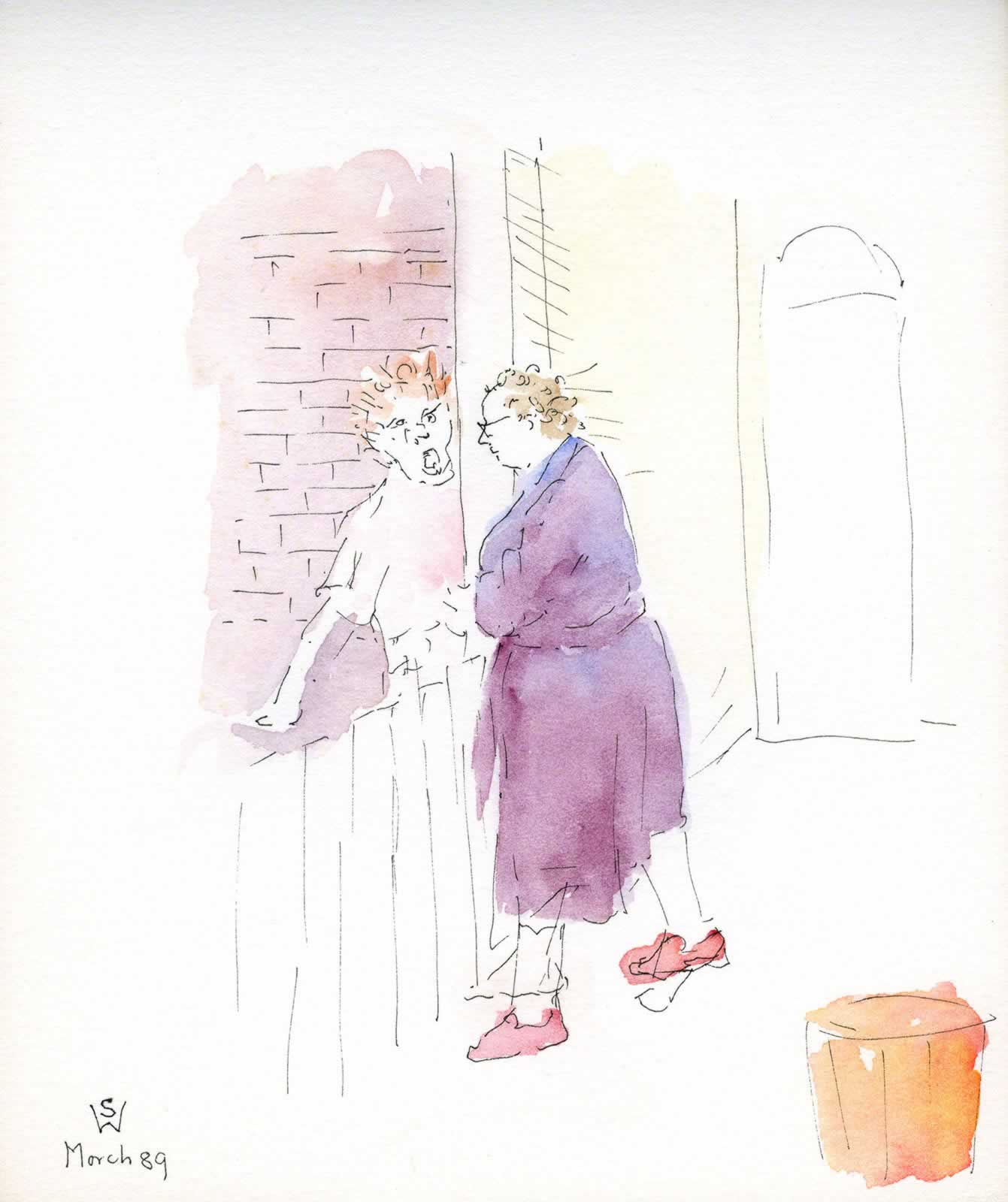 Sketch: early morning gossip, Johnston St, Annandale by Susan Dorothea White