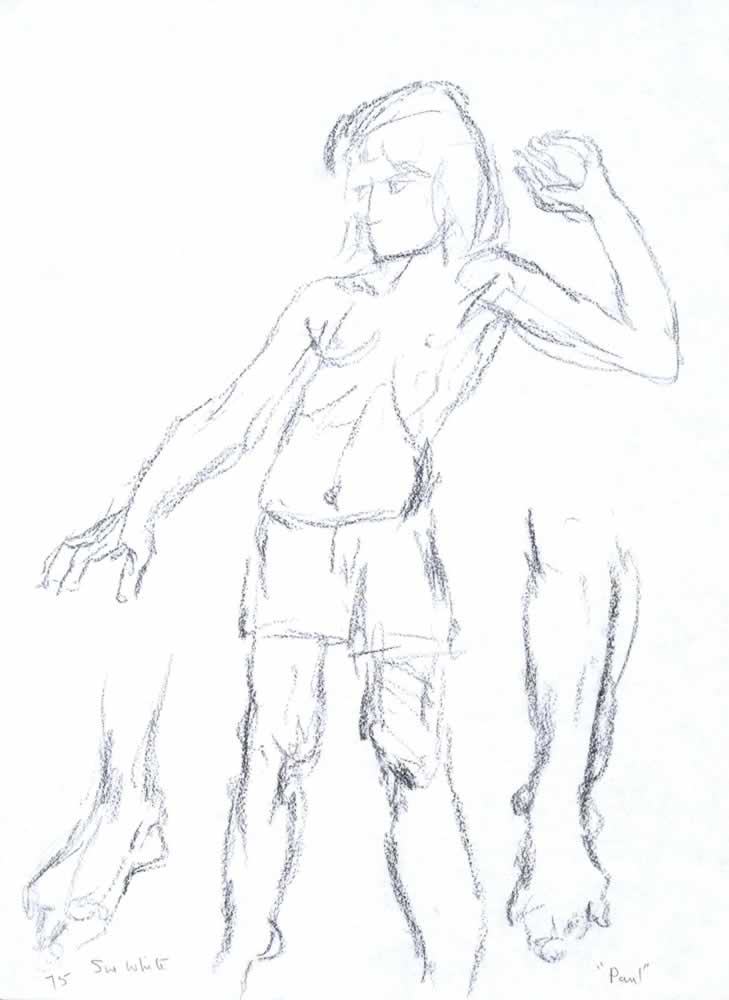 Sketch of Paul on skateboard by Susan Dorothea White
