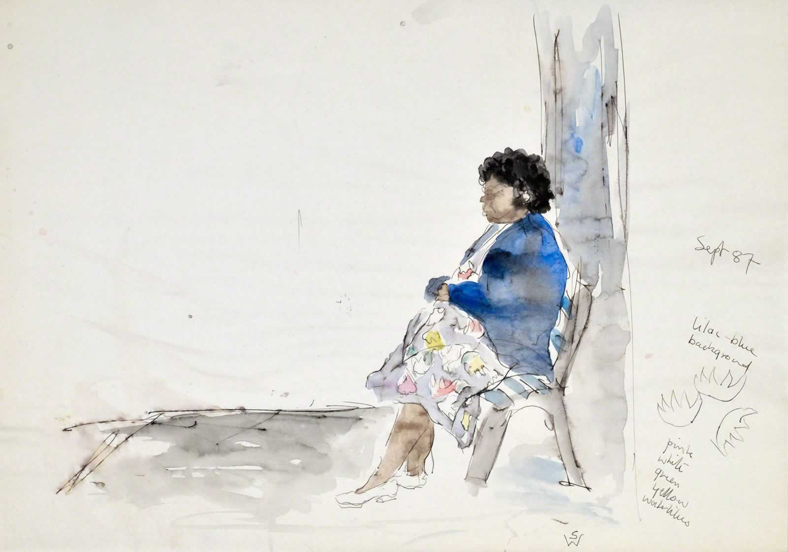 Sketch: woman waiting for bus by Susan Dorothea White