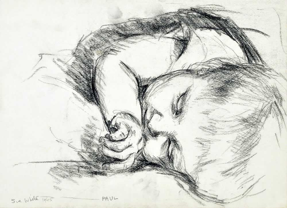 Sleeping child - head on left side, foreshortened view by Susan Dorothea White