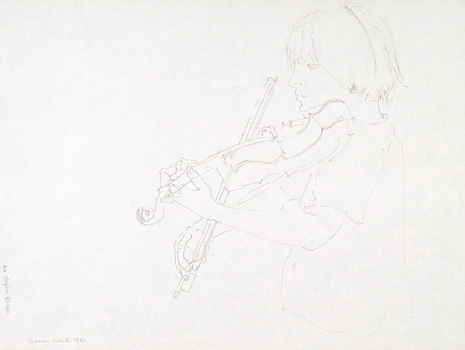 Stephen practising violin (profile) by Susan Dorothea White