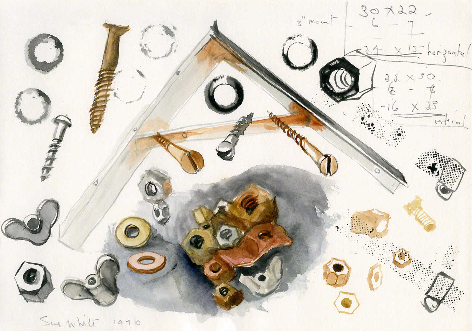 Nuts and Bolts, Washers, Screws - study for 'Retired Mechanic' by Susan Dorothea White