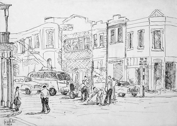 Trolleybus and workmen, Hindley Street, Adelaide by Susan Dorothea White