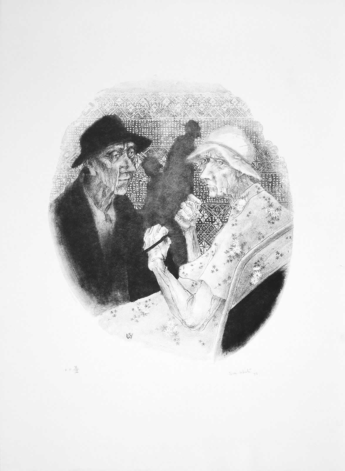 Two (lithograph, black) by Susan Dorothea White