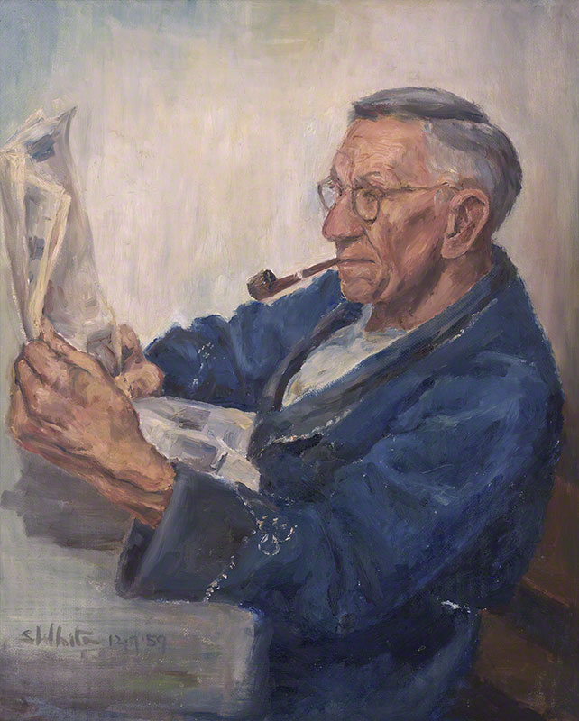 Uncle Ted in dressing gown, reading by Susan Dorothea White