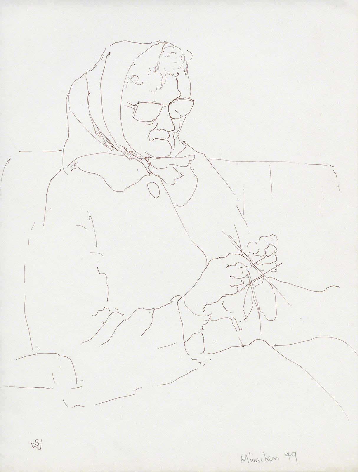Woman knitting by Susan Dorothea White